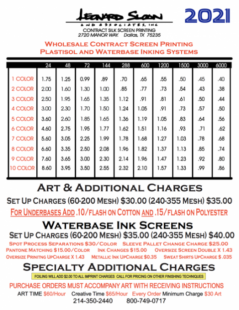 2021 LSA Contract Screen Printing Price List