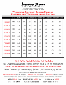 Contract Screen Printing Prices List