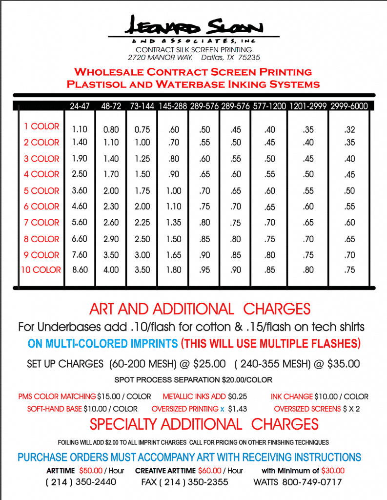 contract screen printing price list oct 10 2017