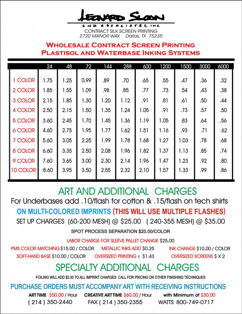 Screen Printing Price List