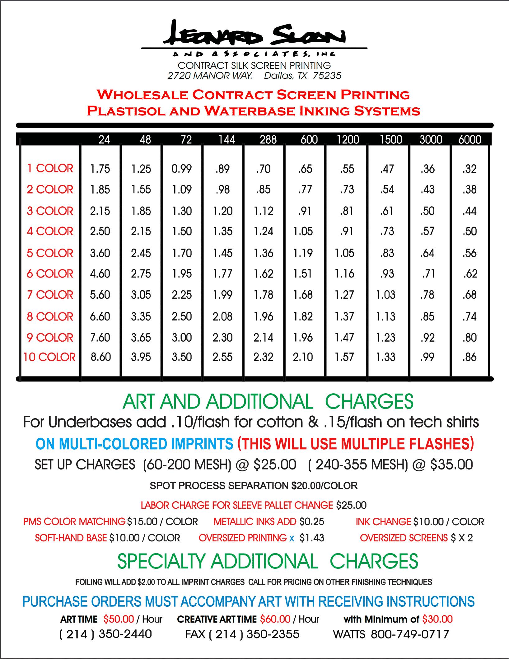 91b65efc0 Contract Screen Printing Price List – Wholesale Contract Screen Printing